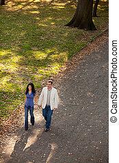 공원, 걷다, 한 쌍