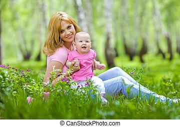 공원, 봄, 자작나무, 딸, 어머니