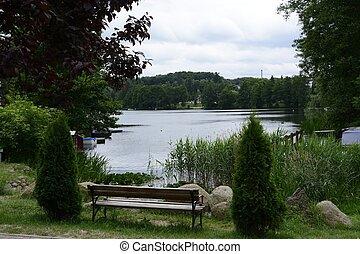 공원, 호수, 진주, crannies, lagow, lubusz
