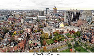 공중선, 정면 출입구, 매사추세츠, 주립의 집, 수도, 건물, 보스턴