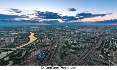 공중선, 최고의 보기, 의, 모스크바, 도시, 밤에서 날, timelapse, 후에, sunset., 형태,...