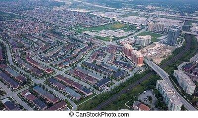 공중 전망, 의, 그만큼, 주거 지역, 의, 도시, 4k