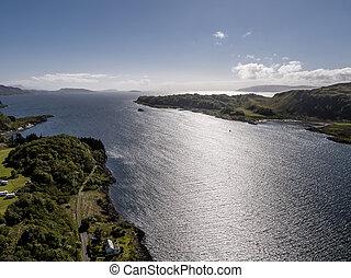 공중 전망, 의, 그만큼, 해안, 사이의, gallanach, 와..., oban, argyll
