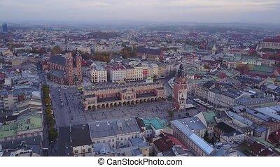 공중 전망, 의, krakow, 역사적이다, 시장 스퀘어, 폴란드