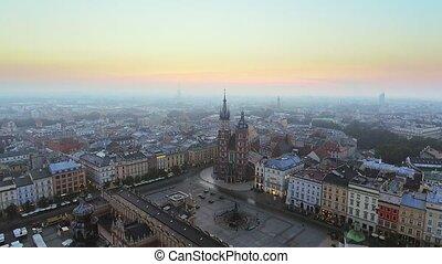 공중 전망, 의, krakow, 역사적이다, 시장 스퀘어, 폴란드, 중부 유럽, 에, morning.