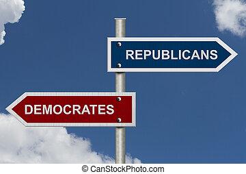 공화당, 대, 민주주의자