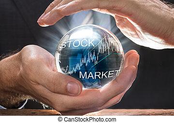 공, 결정, 덮음, 그래프, 실업가, 시장, 주식