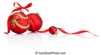공, 고립된, 활, 장식, 리본, 배경, 화이트 크리스마스, 빨강