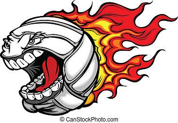 공, 불타는, 배구, 얼굴, 벡터, 이목을 끌게 하는, 만화