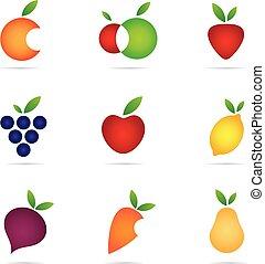 과일, 로고, 와..., 아이콘