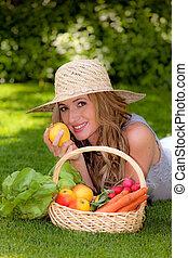 과일, 바구니, 야채, 그의 것, 아내