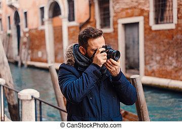 관광객, 사진을 찍는 것, 에서, 베니스