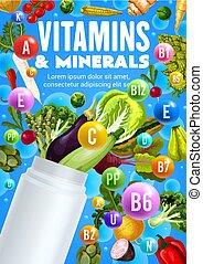 광물, 플라스틱, 비타민, 병, 야채