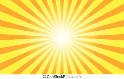 광선, 색, 태양, 삽화, 배경., 벡터, 오렌지, 구름 사이부터 날렵하게 쪼일 수 있는 일광, design.