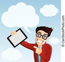 광적인 사람, 컴퓨터, -, 구름, 컴퓨팅