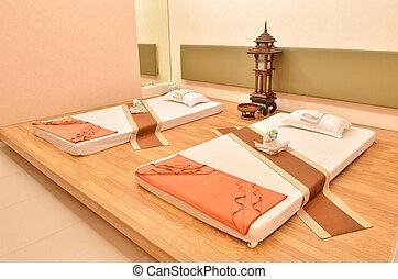광천, 방, 와, 내부, 이루어져 있는, 의, 침대, 베개, 와..., 타월
