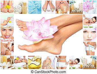 광천, massage., 다리, 와, flower.