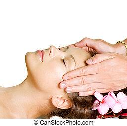 광천, massage., 아름다움, 여자, 도착하는 것, 얼굴 마사지, massage., day-spa