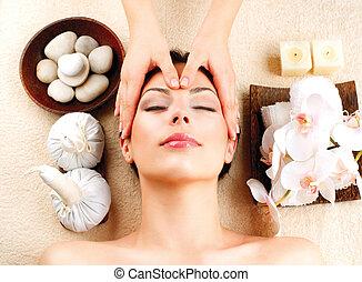 광천, massage., 젊은 숙녀, 도착하는 것, 얼굴 안마