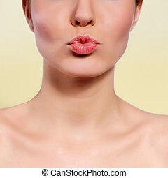 광택, gesture., 매력, 입술, 키스하는 것, 빨강