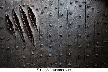 괴물, 집게발, 은 긁는다, 통하고 있는, 금속 벽, 또는, 문, 배경
