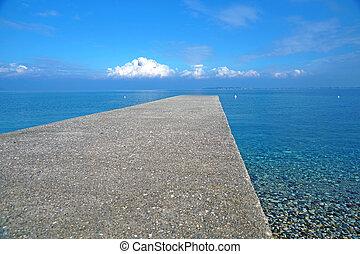 교각, 통하고 있는, 그만큼, 바다, 수평선, 와, a, 뇌우, .