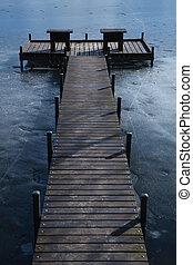 교각, 통하고 있는, 어는 호수