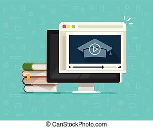 교육, 경유, 온라인의, 비디오, 통하고 있는, 컴퓨터, 벡터, 삽화, 바람 빠진 타이어, 만화, 2 바탕...
