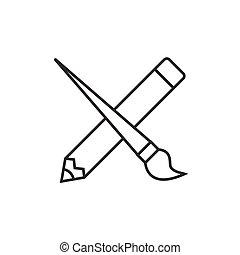 교차하는, 연필, 와, 페인트 붓
