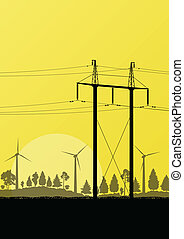 교체 에너지, 전기, 바람, 발전기, 에서, 시골, 숲, 성격 조경, 삽화, 배경, 벡터