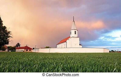 교회, 통하고 있는, 들판, 시골, 조경술을 써서 녹화하다