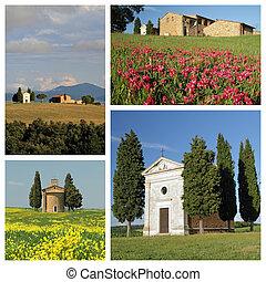 교회, madonna, di, vitaleta, 에서, 기이한, tuscan, 시골, 의, valdorcia, 유네스코, 세계, 유산