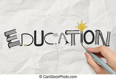 구겨진다, 문자로 쓰는, 낱말, 사업, 손, 종이, 개념, 디자인, 교육, 그림