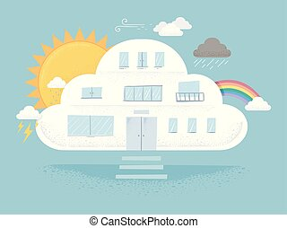 구름, 건물, 날씨, 삽화