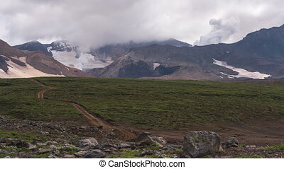 구름, 능동의, 경과, fumarole, 시간, 화산을 솟아나는 것, crater., 기절시키는, 조경술을 ...