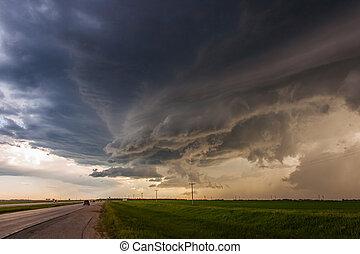 구름, 위의, 극적인, 폭풍우, 상도, 대초원