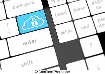 구름, 컴퓨팅, 안전, 개념, 통하고 있는, 키보드, 단추, 상세한 묘사