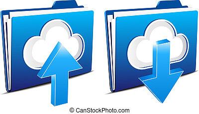 구름, 컴퓨팅, 올려주기, 와..., 다운로드