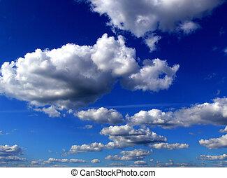 구름, 통하고 있는, 하늘