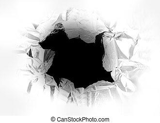 구멍, 찢는, 에서, a, 금속의 조각, 와, 빛, 빛나는, 끝에서 끝까지 통한