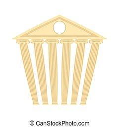 구식의, 고물, 건물., 건물, 와, columns., 벡터, illustration.