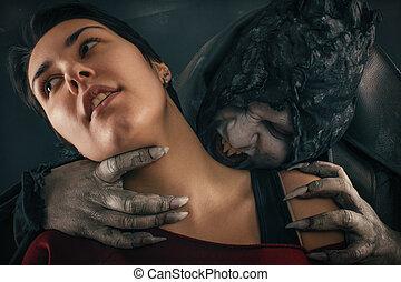 구식의, 괴물, 흡혈귀, 악마, 은 물n다, a, 여자, neck., halloween, 공상