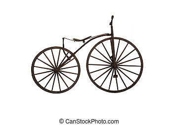 구식의, 멍청한, 자전거, 백색 위에서, 배경