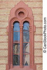 구식의, 조형, 창문, 교회, 정면, stucco