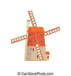 구식의, 풍차, 중세의, 건물, 만화, 벡터, 삽화