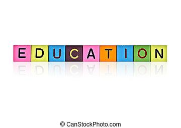 구획, 멍청한, 형성하는, 편지, 낱말, 교육