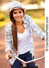 구, 여자, 자전거, 나이 적은 편의, 옥외