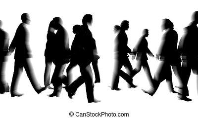 군중, 의, 사람, 은 이동한다, blured하게 된다