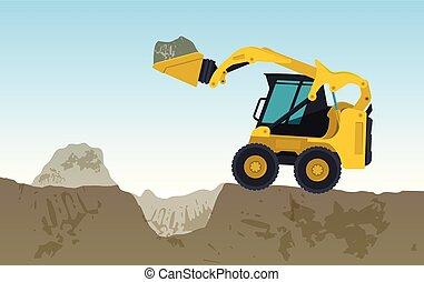 굴착기, 황색, 은 판다, hole., works., 벡터, bagger, 파는 것, 정원