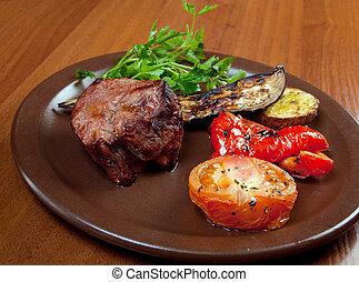 굽, 접시, 백색, 쇠고기, vegetable.